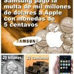 Samsung pagó multa de mil millones a Apple con monedas de 5 centavos