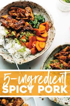 A fancy-feeling dinner recipe that actually comes together in snap. Serve it in bowls, stir-fry it with some veggies, or add it to Ingredient Spicy Pork! A fancy-feeling dinner recipe that actually Pork Recipes, Asian Recipes, Cooking Recipes, Healthy Recipes, Ethnic Recipes, Yummy Recipes, Recipies, Gourmet Cooking, Pork Tenderloin Recipes