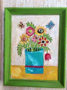 Pretty Floral Framed Folk Art Butterflies  by evesjulia12 on Etsy, $120.00