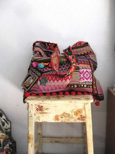 Large Woven Bag Vintage Embroidery Pom Poms by AllThingsPretty, $185.00