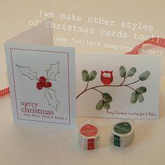 Children's Fingerprint Christmas Cards - Great idea! Print, fold and add fingerprints.  Viola!