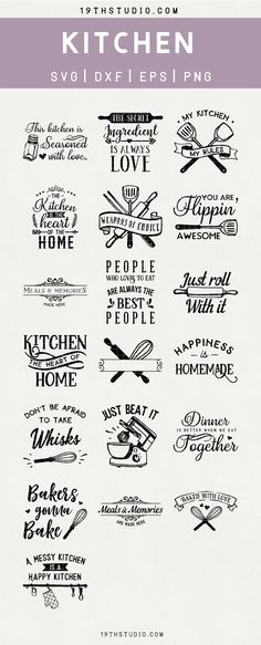 Kitchen SVG Bundle - M22 SVG Bundle for commercial use. SVG cut files by 19thstudio.com. These designs come in svg dxf eps and png file formats. These svg files are perfect for Halloween t-shirts, mugs, posters, giveaway, personalized gift and your other DIY projects. These svg files are compatible with Cameo Silhouette, Cricut and other major cutting machines! This bundle comes with commercial license for commercial use. Please check the product description for more details. Kitchen Sign Ideas, Kitchen Sayings, Kitchen Vinyl, Kitchen Decor, Cricut Projects Christmas, Ideas For Cricut Projects, Vinyl Craft Projects, Diy Projects, Silhouette Vinyl