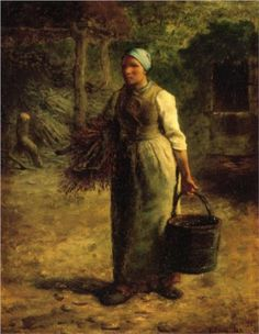 Woman Carrying Firewood and a Pail - Jean-Francois Millet |Pinned from PinTo for iPad|