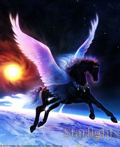 Bella Sara - Andromeda, Princess of the Starlight Pegasus herd Unicorn Fantasy, Unicorn Horse, Unicorn Art, Fantasy Art, Fantasy Images, Pegasus, Magical Creatures, Beautiful Creatures, Winged Horse