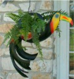 Bird planter, upcycled tire