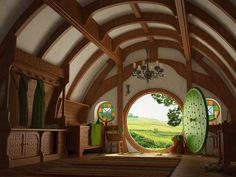 An interior view looking out from one of the more famous hobbit home examples