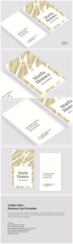 Golden Palm Business Card Template by The Design Label on @creativemarket