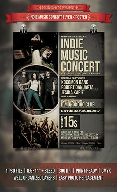Indie Music Concert Flyer / Poster Template PSD