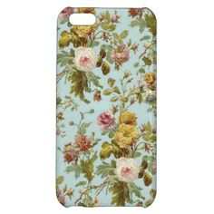 Vintage Rose Floral. Pretty iPhone 5C case. Beautiful pastel pink, violet, lavender, mauve, taupe, light and dark purple, and sage green colors flower pattern on soft light blue. Romantic antique design for the stylish nouveau art deco lover. Cute and fun present for mom's birthday, Mother's day or Christmas gift. Classy chic phone cover for the girly girl or elegant and sophisticated woman. Also for iPhone 3 4, Samsung Galaxy S2 S3 S3, Droid Razr, iPod 4G 5G, iPad Air, iPad Mini, 2 3 4…