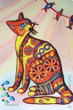 Картина панно рисунок Квиллинг КОШКИ разные нужны КОШКИ всякие важны Бумага фото 10