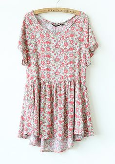 Red Floral Irregular Pleated Short Sleeve Cotton Dress