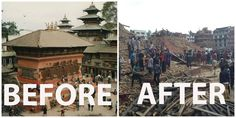 before after eathquake nepal temple