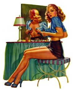 Pin up girl at her vanity Vintage Quilting Fabric Block 5x7 wm121