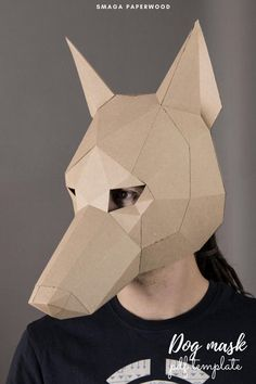 Papercraft Dog mask - pdf pattern. Looking for a costume idea for a Halloween party? Download this papercraft dog mask, and use the template to make your Masquerade Dog mask.