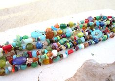 Pulsera multicolor. Pulsera de piedra preciosa Semi de multi.