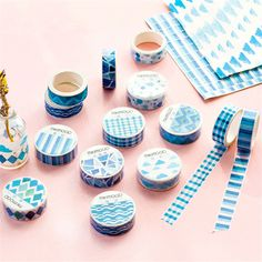 8 pcs/lot 1.5cm*7M Blue Series Decorative Washi Tape Scotch DIY Scrapbooking Masking Craft Tape gift School Office Supply