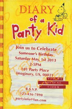Diary of a wimpy kid Birthday Invitations by CSCPaintedCreations, $11.00
