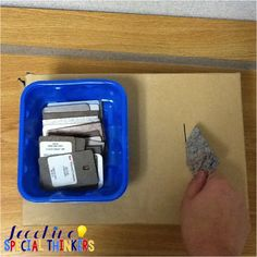 January Work Tasks This is a cool put in task with formica samples from the hardware store from Teaching Special Thinkers!