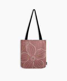Flower line art red tote bag. This floral design is created with organic lines using neutral earthy colors great for the market or as a yoga bag for a stylish look. #yoga#gym#bag Cute Presents, Unique Presents, Christmas Bags, Christmas Gifts For Her, Line Art Design, Red Tote Bag, Gifts For An Artist, Yoga Bag, Printed Tote Bags