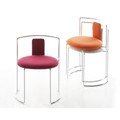 Gaja, designed by Kazuhide Takahama for Cassina, is a chair with resistance welded chrome plated steel bar frame and removable cover, available with upholstered foam resin backrest, or as a stool. Space Saving Furniture, Home Furniture, Furniture Design, Restaurant Furniture, Kitchen Stools, Stackable Chairs, Steel Bar, New Living Room, Sofa Chair