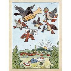 Kids Corner, Book Illustration, Vintage Signs, Birds In Flight, Wooden Signs, Painting & Drawing, Illustrators, Giclee Print, Modern Art