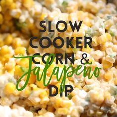 Appetizer Recipes Discover Slow Cooker Corn Jalapeno Dip Simply throw everything in the crockpot for the easiest most creamiest dip ever. Its so good youll want to eat it with a spoon! Slow Cooker Recipes, Crockpot Recipes, Cooking Recipes, Healthy Recipes, Crockpot Party Food, Dip Crockpot, Fresh Corn Recipes, Slow Cooker Dips, Cold Dip Recipes