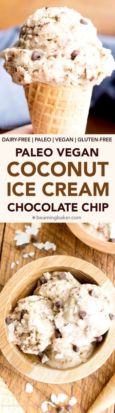 Coconut Chocolate Chip Vegan Ice Cream (Paleo, V, GF): made with frozen bananas and coconut cream as the base; an easy, 6 ingredient recipe for creamy chocolate chip ice cream bursting with coconut flavor. Low Carb Dessert, Paleo Dessert, Gluten Free Desserts, Dairy Free Recipes, Delicious Desserts, Dessert Recipes, Vegan Recipes, Diet Desserts, Paleo Ice Cream