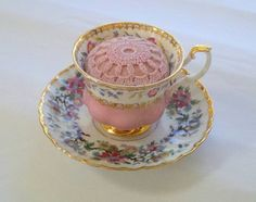 Vintage Tea Cup Pin Cushion by TrulyFelt on Etsy, $16.00
