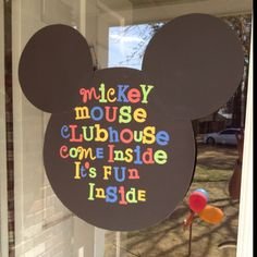 Mickey Mouse Clubhouse welcome sign Mickey Mouse Classroom, Mickey Mouse Bday, Mickey Mouse Clubhouse Birthday, Mickey Party, Mickey Mouse Birthday, Minnie Mouse Party, Mouse Parties, Disney Classroom, 4th Birthday Parties