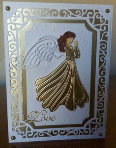"""Used Tonic Swirling Frames layering dies and Sue Wilson Christmas Angel die for this 5 x 7 """" Christmas card."""