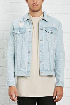 38609efa928c Distressed Denim Jacket Forever 21 Men
