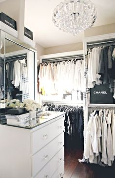 monochrome clothing in monochrome closet
