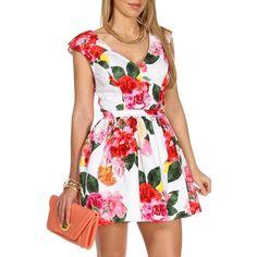 Ivory/Pink Floral Skater Dress