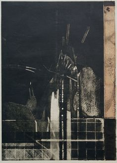 Takahiko Hayashi ~ Back bone of the wind 5, 1987 (copperplate print with chine colle', etching)
