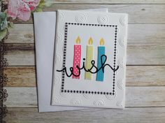 Handmade birthday card, birthday card, Wish card, cards with candles, homemade card, handmade card, by PinkyPromiseBargains on Etsy