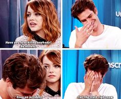 Emma and Andrew. Cutest couple EVER. Also crying because of the second Amazing Spider-Man.