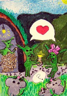 ACEO ATC A Goblin and His Girl love mice Halloween Original whimsical cartoon #Miniature  #aceo #art #eBay #Halloween #goblins #mice
