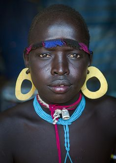 Portrait Of A Bodi Tribe Young Man With Huge Earrings, Hana Mursi, Omo Valley, Ethiopia | Flickr - Photo Sharing!
