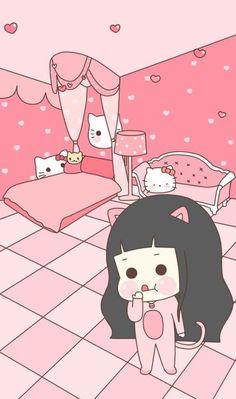 Imagen de art, kawaii, and art girl Cute Pastel Wallpaper, Wallpaper Wa, Kawaii Wallpaper, Cartoon Wallpaper, Iphone Wallpaper, Korea Wallpaper, Cute Kawaii Drawings, Kawaii Doodles, Kawaii Anime Girl