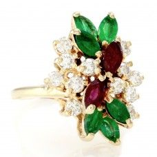Emerald, Ruby & Diamond Cluster Ring in 14K Yellow Gold