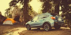 Our Subaru Crosstrek XV at our campsite near Reyes Peak on Pine Mountain in the Los Padres Forest. Commercial Photography by Lanewood Studio.