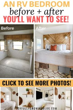She shares her exact process for renovating a small RV bedroom. These super simple small bedroom decor ideas are SO GOOD! Pinning these RV bedroom remodel ideas for later! #joyfullygrowingblog #rvbedroom #rvremodel #smallbedroom