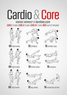 Cardio & Core – Darebee Workout… – How To Losing Weight Mens Cardio Workout, Cardio Abs, Cardio Workout At Home, Gym Workout Tips, Abs Workout Routines, At Home Workouts, Aerobics Workout, Body Workouts, Core Workouts For Men