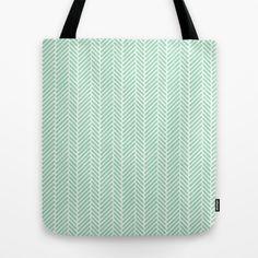 Herringbone Mint Inverse Tote Bag by Project M