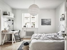 White bedroom with light oak flooring to match with a little grey to add some colour. Apartment Interior, Home Interior, Interior Design, Home Bedroom, Bedroom Furniture, Bedroom Decor, Master Bedroom, Wall Decor, Design Living Room
