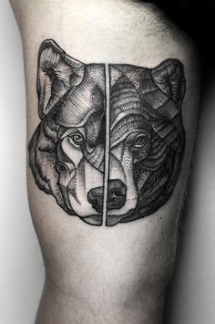 Bartosz Wojda tattoo- wolf & bear