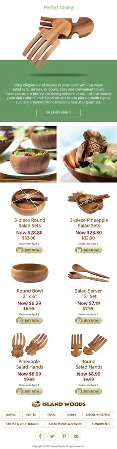 #March #Madness 10% Off #Acacia #Salad Sets & Salad #Servers #shop now!   Bring elegance and beauty to your table with our wood salad sets, servers, or bowls.  Easy and convenient to use these pieces are perfect for dining indoors or out.  Let the natural grain and color of each hand-turned Acacia piece enhance your culinary creations from simple to four-star gourmet.