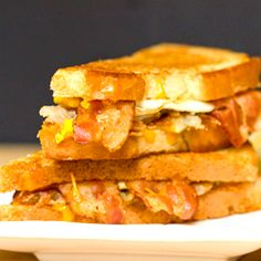 A recipe for Bacon, Egg & Hash Brown Grilled Cheese Sandwich.