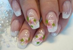 For tropical nails, shades of blue, pink, orange, and green work just perfectly. We have gathered some 50 hot tropical nail art designs. Easy Nails, Easy Nail Art, Simple Nails, Flower Nail Designs, Simple Nail Art Designs, Tropical Nail Art, Bridal Nail Art, Nail Designs Pictures, French Nail Art