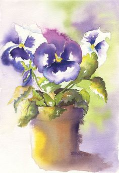 Pansies watercolor by Beth Roberson Watercolor Pictures, Watercolour Painting, Watercolor Flowers, Painting & Drawing, Watercolors, Arte Floral, Watercolor Techniques, Beautiful Paintings, Pansies